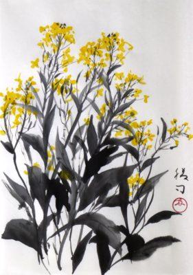 菜の花の水墨画