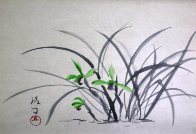 春蘭の水墨画