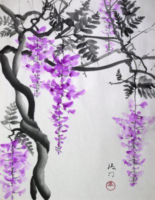 藤の水墨画