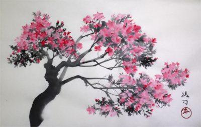 サツキの水墨画