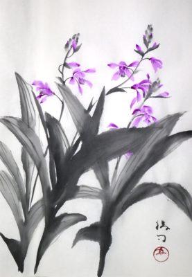 紫蘭の水墨画
