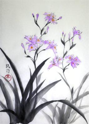 シャガの水墨画