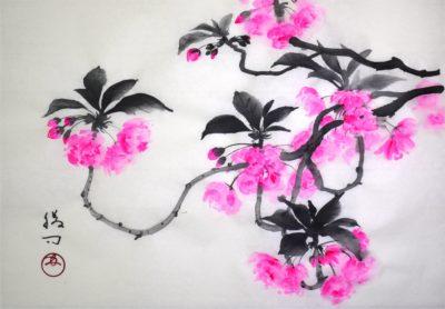 八重桜の水墨画