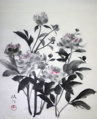 芍薬の水墨画