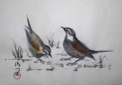小鳥(ツグミ)の水墨画