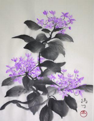 紫陽花の水墨画