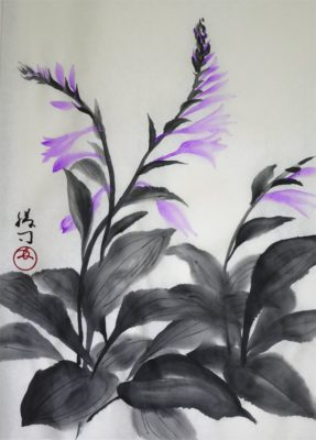 ギボウシの水墨画