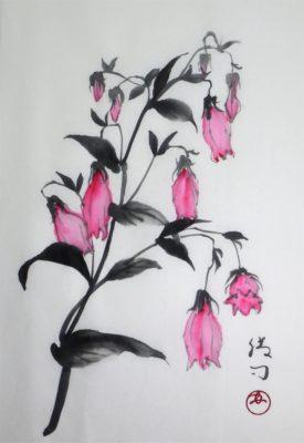 ホタルブクロの水墨画