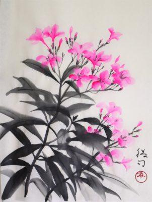 夾竹桃の水墨画