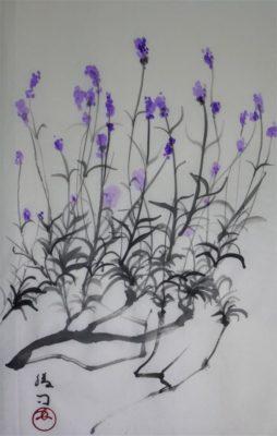 ラベンダーの水墨画