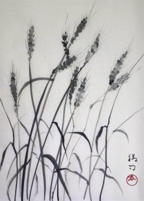 麦の水墨画