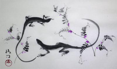トカゲの水墨画