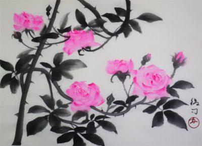 蔓薔薇(ピエール・ドゥ・ロンサール)の水墨画