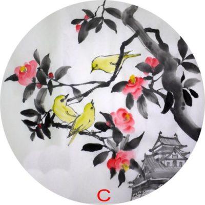 ステンドグラス「椿とメジロ」の原画