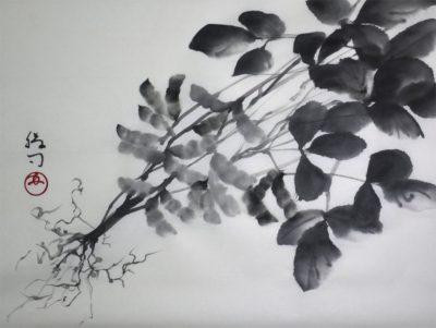 枝豆の水墨画(絵手紙にも応用してみてください)