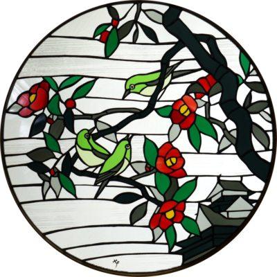 和風ステンドグラス「椿とメジロ」の完成写真