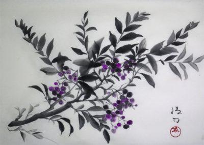 ブルーベリーの水墨画