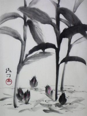茗荷の水墨画
