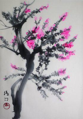サルスベリの水墨画