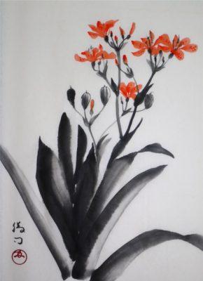 檜扇(ヒオウギ)の水墨画