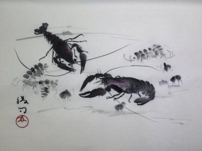ザリガニの水墨画