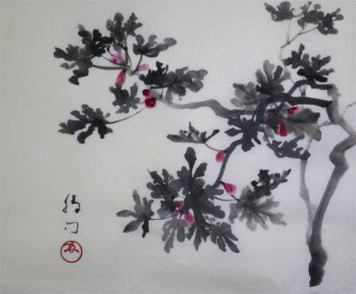 イチジクの水墨画