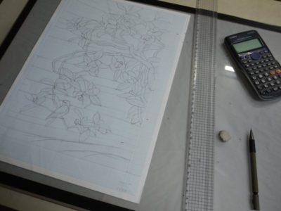 型紙にするために、図案を単純化させます