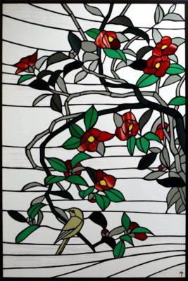 和風ステンドグラス「椿と鶯」