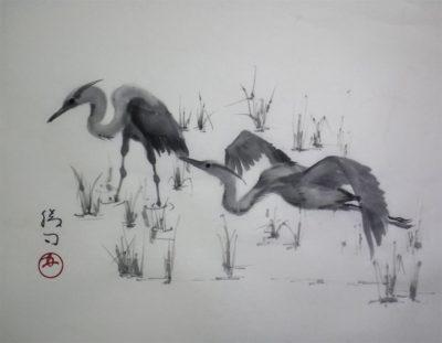 青鷺の水墨画
