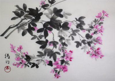 萩の水墨画