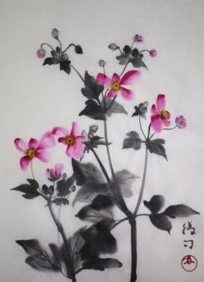 秋明菊の水墨画