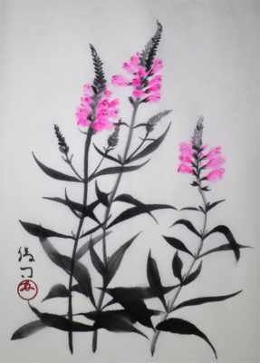 水墨画「花虎の尾」
