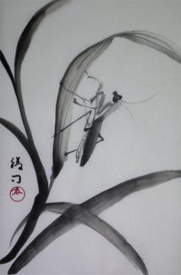 水墨画「カマキリ」