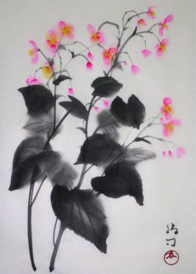 水墨画「秋海棠」