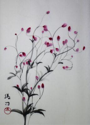 水墨画「吾亦紅」