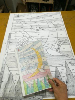 ステンドグラス「北斗」の原画と型紙