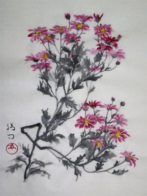 水墨画「小菊」