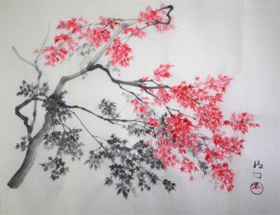 水墨画「紅葉」