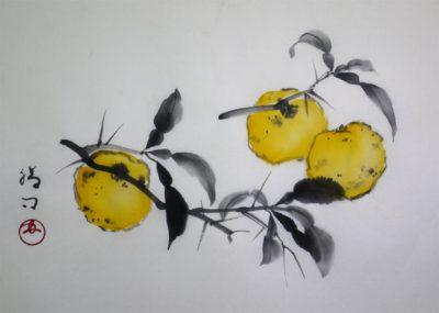 水墨画「柚子」