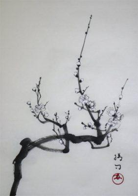 水墨画「白梅」 福田勝司筆