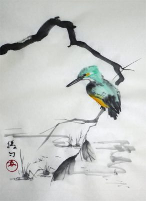 水墨画「カワセミ」 福田勝司筆