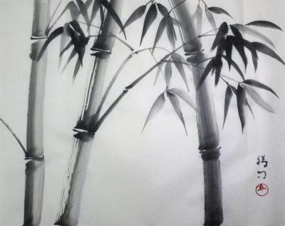 水墨画「竹」 福田勝司 筆