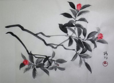水墨画「椿 -侘助-」 福田勝司 筆