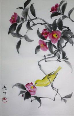 「椿とメジロ」の水墨画による原画