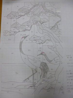 ステンドグラス「松に鶴」の型紙