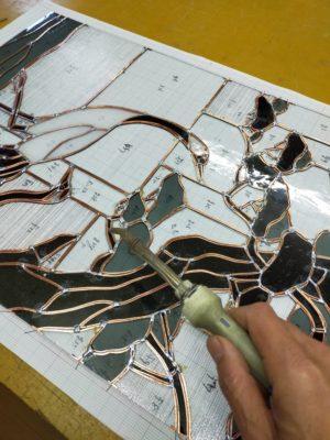 和風ステンドグラス「松と鶴」