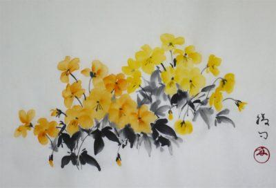 水墨画「ビオラ」 福田勝司筆
