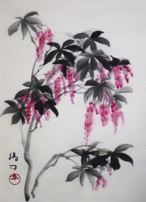 水墨画「馬酔木」 福田勝司筆