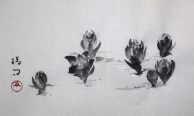 水墨画「ふきのとう」 福田勝司筆