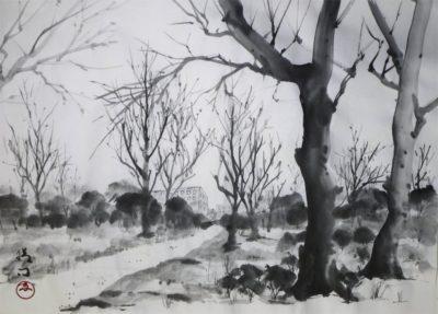 水墨画「冬の風景」